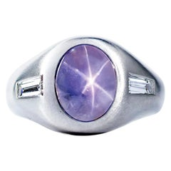 Oscar Heyman 7.91 Carat Ceylon Star Sapphire and Diamond Gypsy Ring
