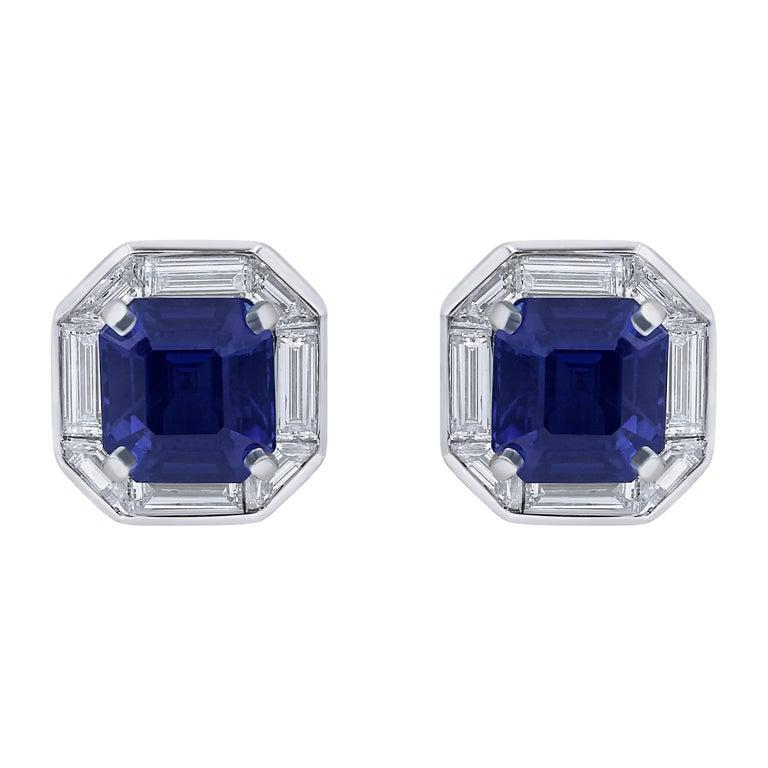 Ceylon sapphire frame earrings, 2021