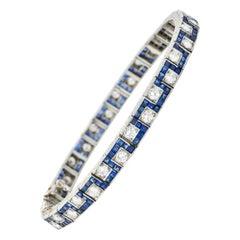 Oscar Heyman 8.45 Carats Sapphire Diamond Platinum Line Bracelet, Circa 1950