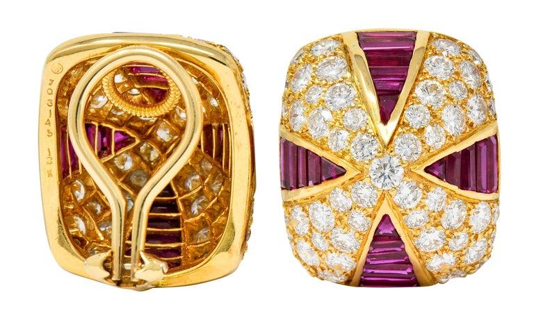 Oscar Heyman 9.02 Carat Diamond Ruby 18 Karat Gold Pave Pyramidal Ear-Clip Earri For Sale 4