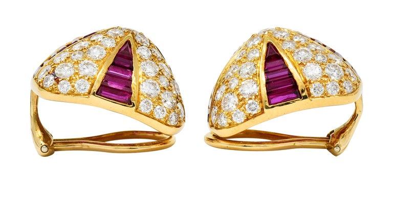Oscar Heyman 9.02 Carat Diamond Ruby 18 Karat Gold Pave Pyramidal Ear-Clip Earri For Sale 1