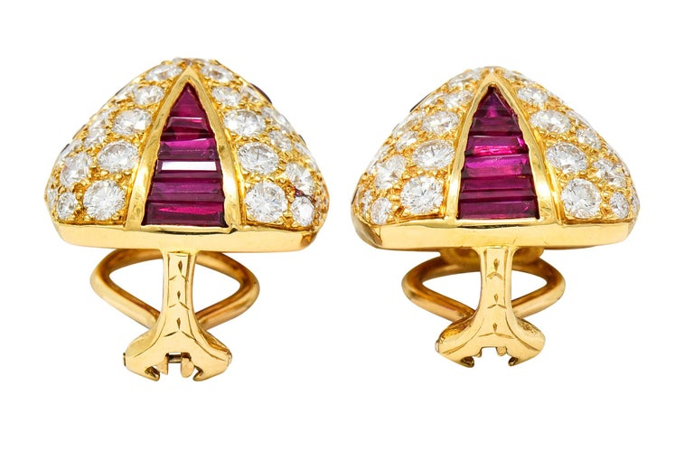 Oscar Heyman 9.02 Carat Diamond Ruby 18 Karat Gold Pave Pyramidal Ear-Clip Earri For Sale 2