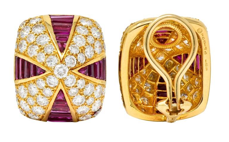 Oscar Heyman 9.02 Carat Diamond Ruby 18 Karat Gold Pave Pyramidal Ear-Clip Earri For Sale 3