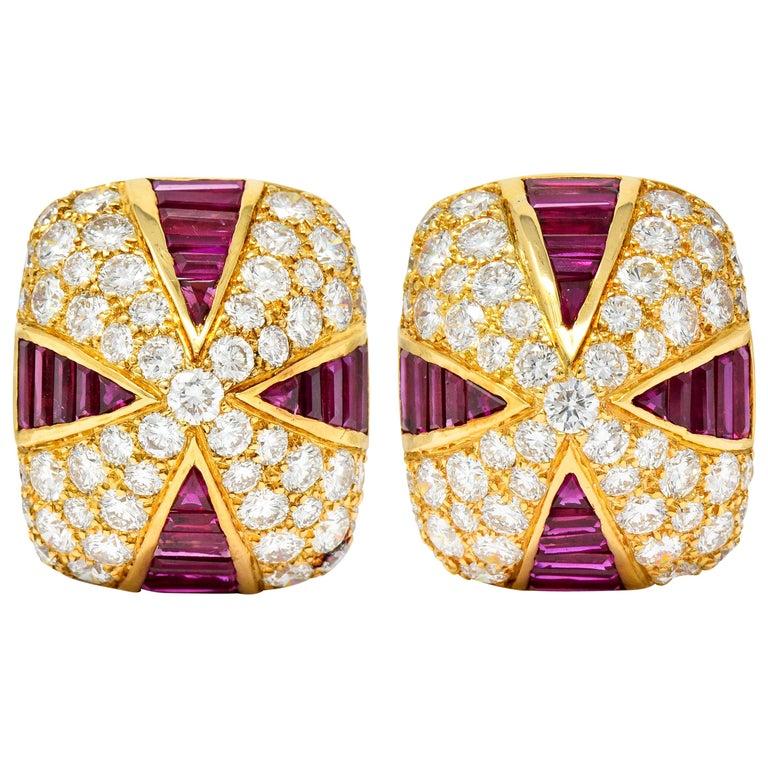 Oscar Heyman 9.02 Carat Diamond Ruby 18 Karat Gold Pave Pyramidal Ear-Clip Earri For Sale