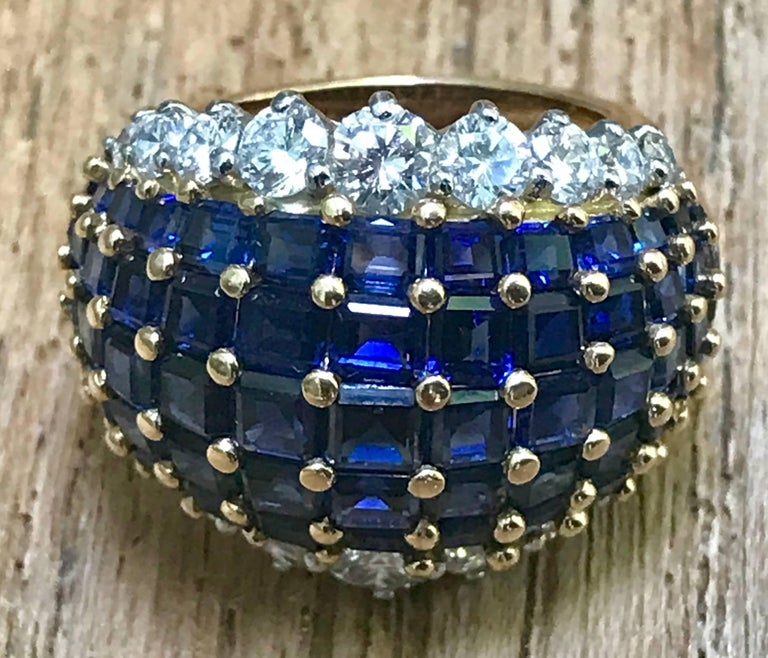 Oscar Heyman American Sapphire and Diamond Ring Mounted in 18-Karat Gold For Sale 2