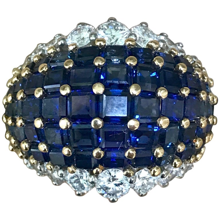 Oscar Heyman American Sapphire and Diamond Ring Mounted in 18-Karat Gold For Sale