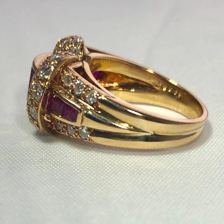 Oscar Heyman and Brothers 18 Karat Gold, Ruby and Diamond Cocktail Ring For Sale 4