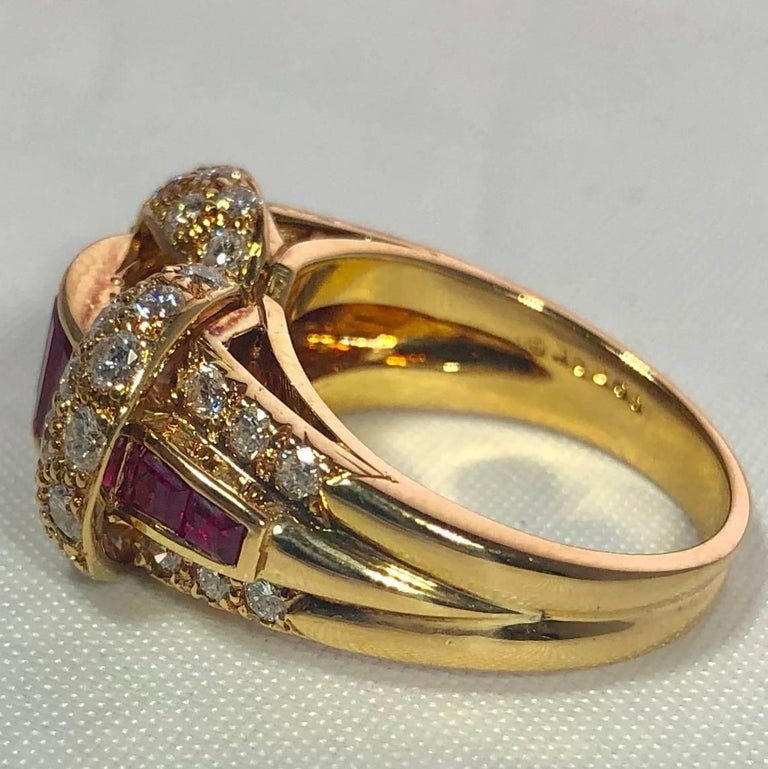 Oscar Heyman and Brothers 18 Karat Gold, Ruby and Diamond Cocktail Ring For Sale 5