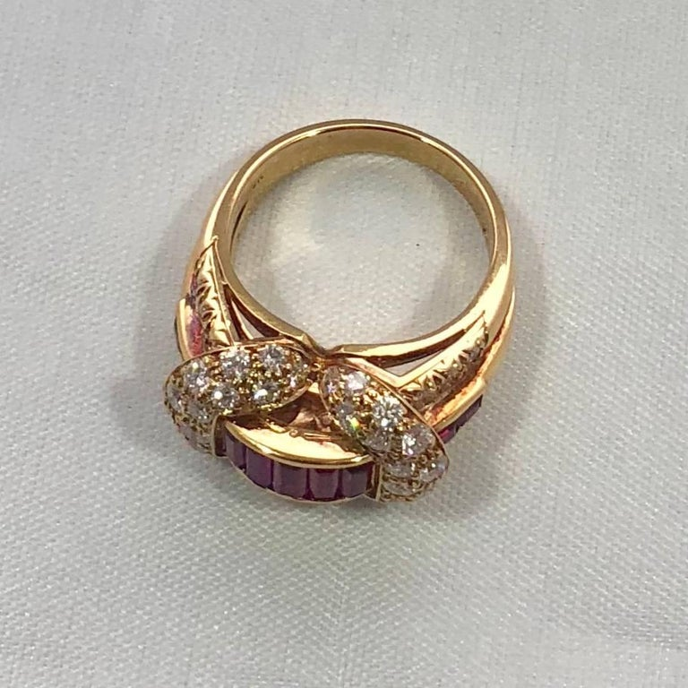 Oscar Heyman and Brothers 18 Karat Gold, Ruby and Diamond Cocktail Ring For Sale 7
