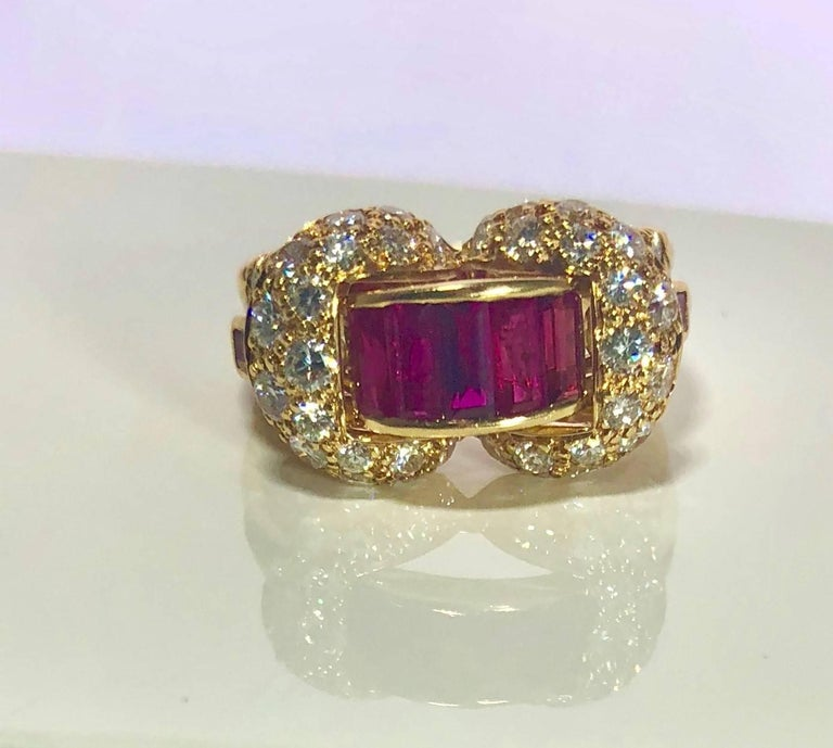 Contemporary Oscar Heyman and Brothers 18 Karat Gold, Ruby and Diamond Cocktail Ring For Sale