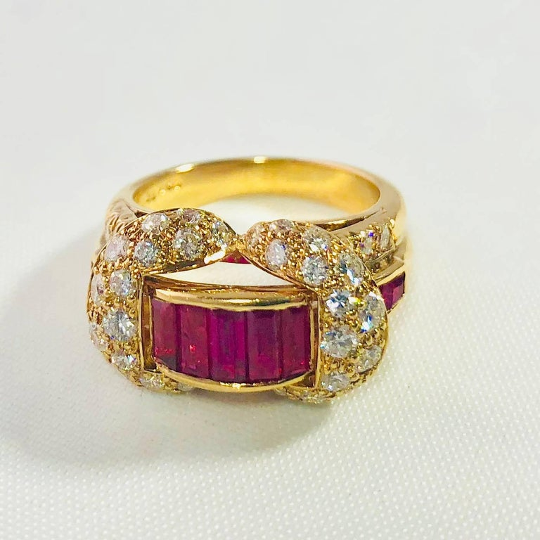 Baguette Cut Oscar Heyman and Brothers 18 Karat Gold, Ruby and Diamond Cocktail Ring For Sale