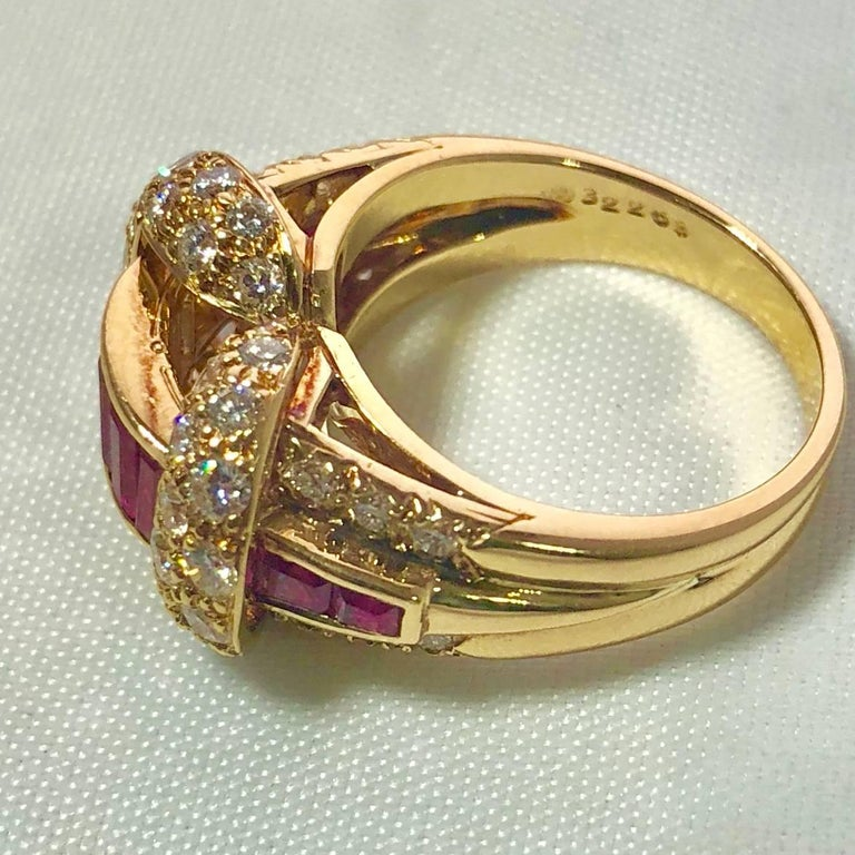 Oscar Heyman and Brothers 18 Karat Gold, Ruby and Diamond Cocktail Ring For Sale 1