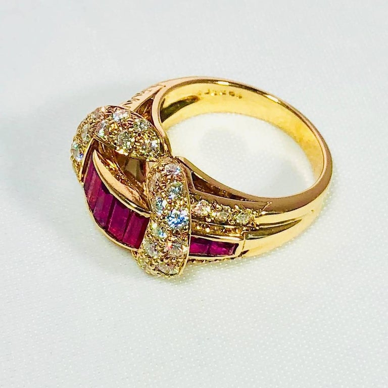 Oscar Heyman and Brothers 18 Karat Gold, Ruby and Diamond Cocktail Ring For Sale 2