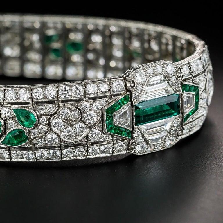 Baguette Cut Oscar Heyman Art Deco Emerald and Diamond Bracelet, circa 1920 For Sale