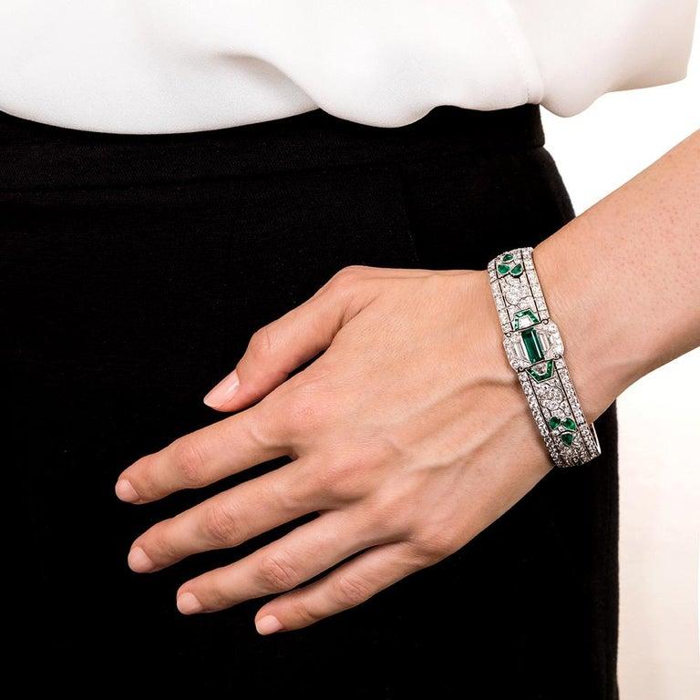 Oscar Heyman Art Deco Emerald and Diamond Bracelet, circa 1920 In Excellent Condition For Sale In San Francisco, CA