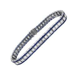 Oscar Heyman Art Deco Platinum French Cut Sapphire Diamond Bracelet
