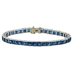 Oscar Heyman Art Deco Platinum Square Sapphires Tennis Bracelet
