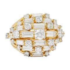 Oscar Heyman Bros. 1960s Vintage 4.30 Carat Diamond 18 Karat Gold Cocktail Ring
