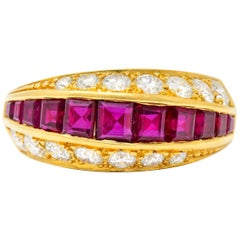 Oscar Heyman Bros. 2.50 Carat Ruby Diamond 18 Karat Gold Band Ring