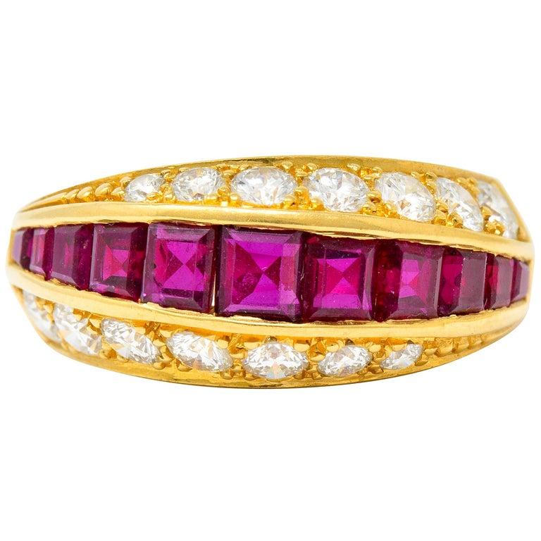 Oscar Heyman Bros. 2.50 Carat Ruby Diamond 18 Karat Gold Band Ring For Sale