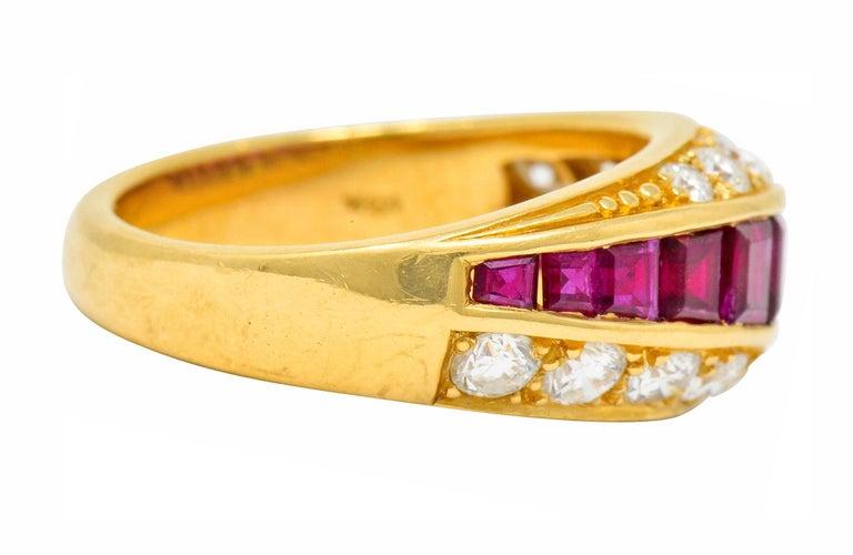 Contemporary Oscar Heyman Bros. 2.50 Carat Ruby Diamond 18 Karat Gold Band Ring For Sale