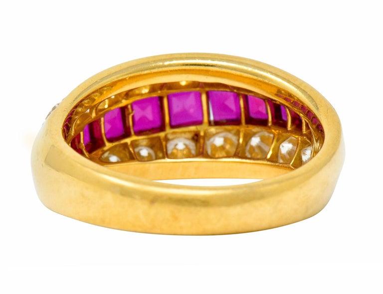Brilliant Cut Oscar Heyman Bros. 2.50 Carat Ruby Diamond 18 Karat Gold Band Ring For Sale