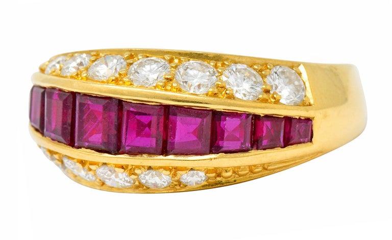 Women's or Men's Oscar Heyman Bros. 2.50 Carat Ruby Diamond 18 Karat Gold Band Ring For Sale