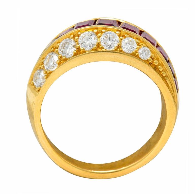 Oscar Heyman Bros. 2.50 Carat Ruby Diamond 18 Karat Gold Band Ring For Sale 1