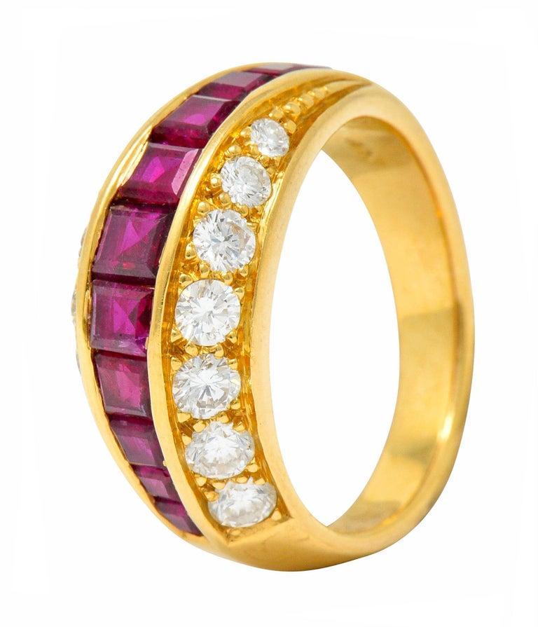 Oscar Heyman Bros. 2.50 Carat Ruby Diamond 18 Karat Gold Band Ring For Sale 2