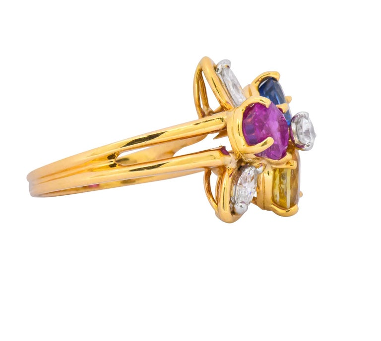 Oval Cut Oscar Heyman Bros. 4.05 Carats Sapphire Diamond 18 Karat Gold Floral Ring For Sale