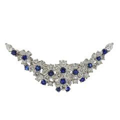 Oscar Heyman Bros. Exquisite Platinum Diamond Sapphire Brooch