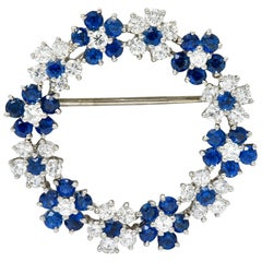 Oscar Heyman Bros, Vintage 5.40 Carat Sapphire Diamond Platinum Floral Brooch