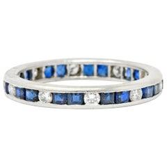 Oscar Heyman Brothers 1.70 Carat Sapphire Diamond Platinum Eternity Band Ring