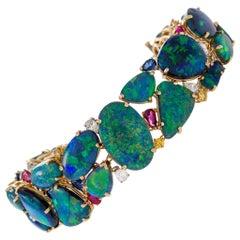 Oscar Heyman & Brothers Black Opal and Gem-Set Bracelet