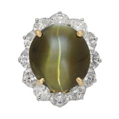 Oscar Heyman Brothers Chrysoberyl Cat's Eye and Diamond Ring, American, circa 20