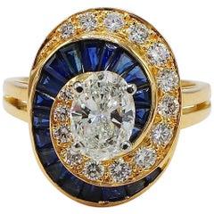 Oscar Heyman Brothers GIA Certified Oval Diamond & Sapphire Swirl Cocktail Ring