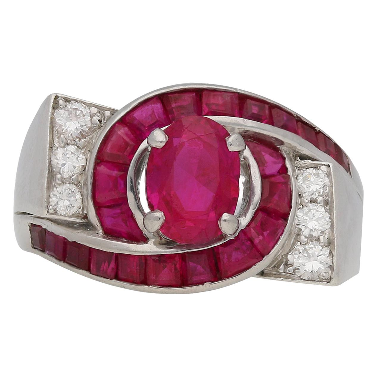 Oscar Heyman Brothers Natural Unenhanced Ruby and Diamond Ring