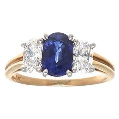 Oscar Heyman & Brothers Sapphire Diamond Gold Three-Stone Ring