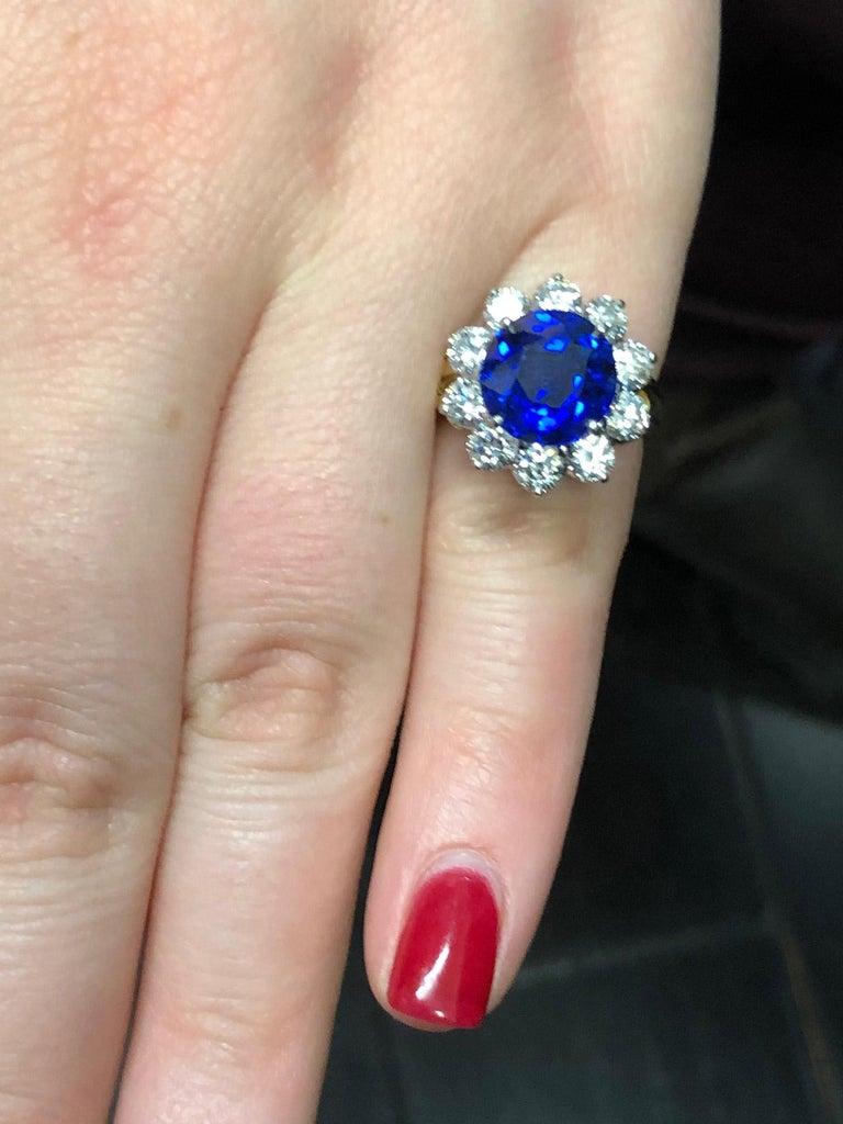 Oscar Heyman Burma Sapphire Diamond Platinum Ring For Sale 7