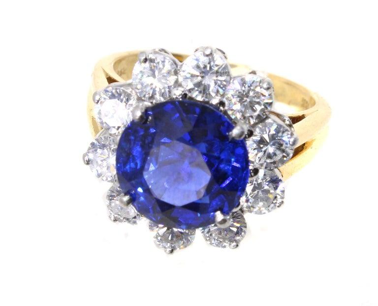 Round Cut Oscar Heyman Burma Sapphire Diamond Platinum Ring For Sale