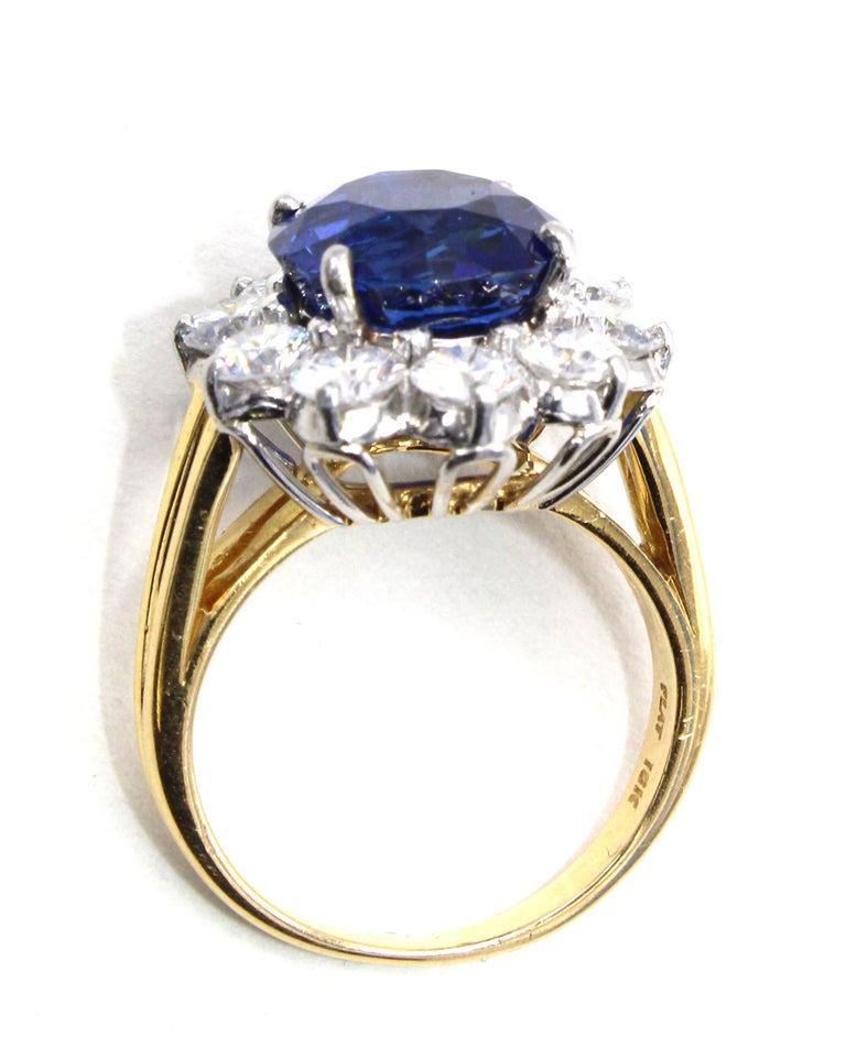 Women's or Men's Oscar Heyman Burma Sapphire Diamond Platinum Ring For Sale