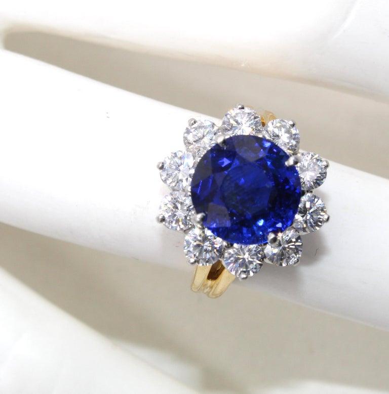 Oscar Heyman Burma Sapphire Diamond Platinum Ring For Sale 1