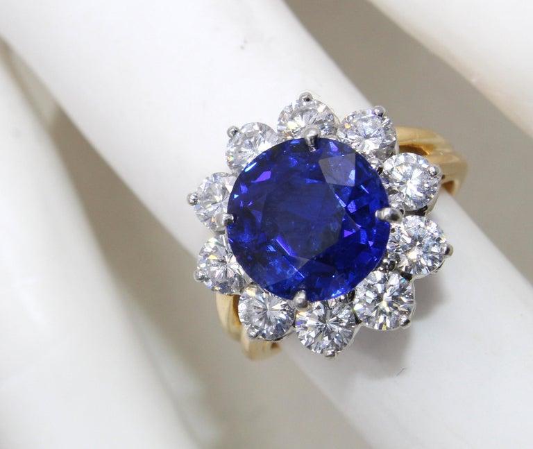 Oscar Heyman Burma Sapphire Diamond Platinum Ring For Sale 2