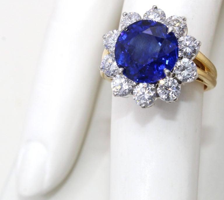 Oscar Heyman Burma Sapphire Diamond Platinum Ring For Sale 3