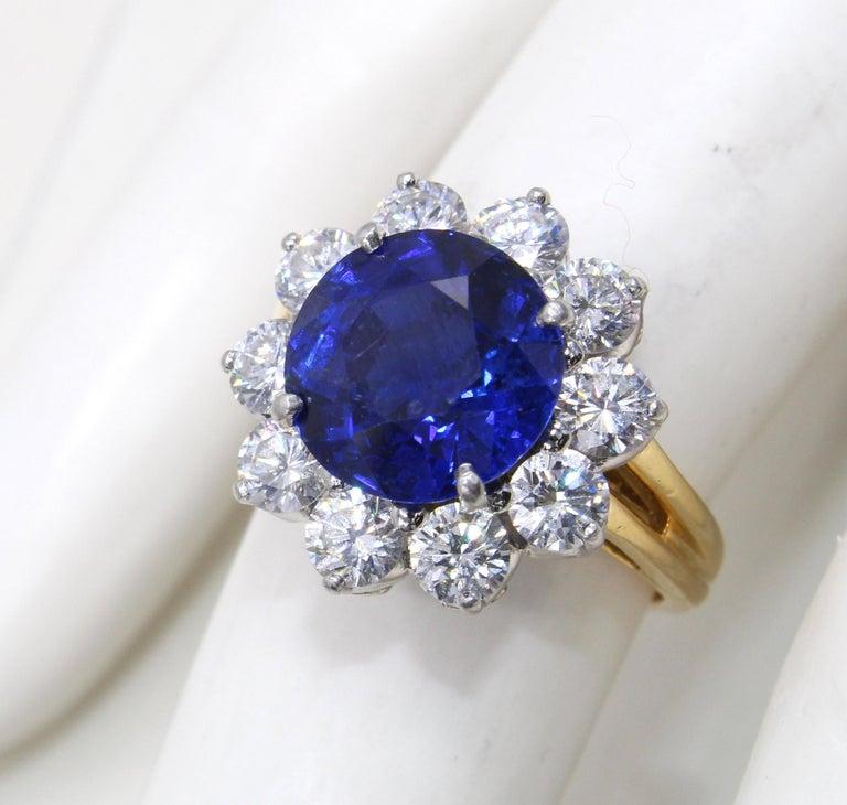 Oscar Heyman Burma Sapphire Diamond Platinum Ring For Sale 4