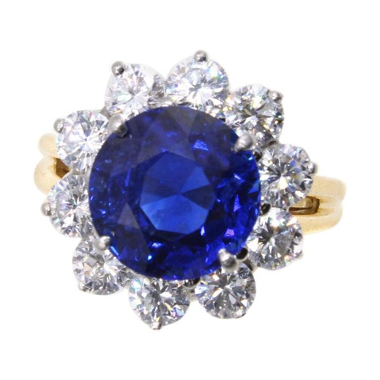 Oscar Heyman Burma Sapphire Diamond Platinum Ring For Sale