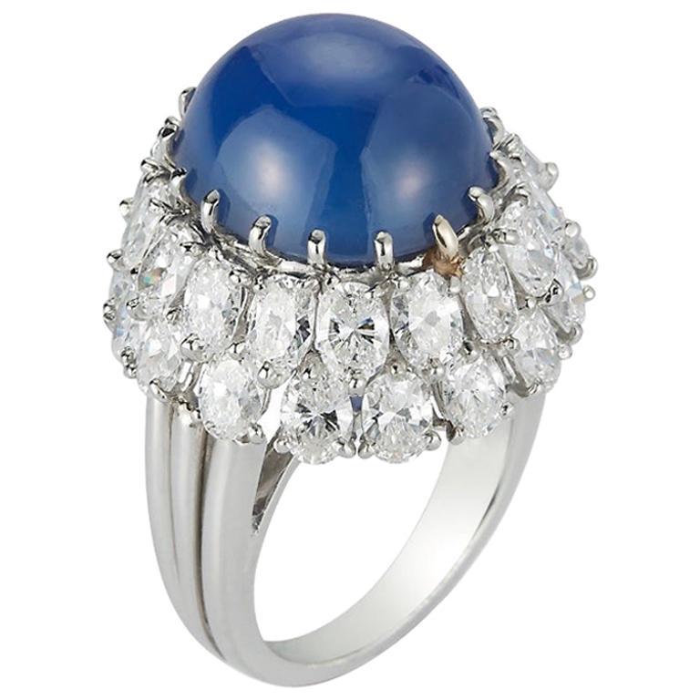 Oscar Heyman Cabochon Sapphire and Diamond Cocktail Ring