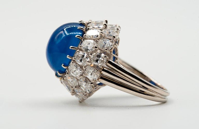 Oscar Heyman Cabochon Sapphire and Diamond Cocktail Ring In Excellent Condition In New York, NY