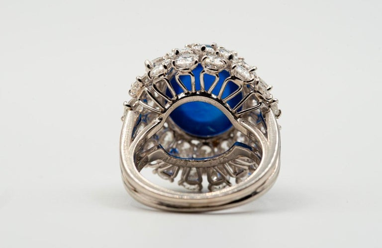 Women's Oscar Heyman Cabochon Sapphire and Diamond Cocktail Ring