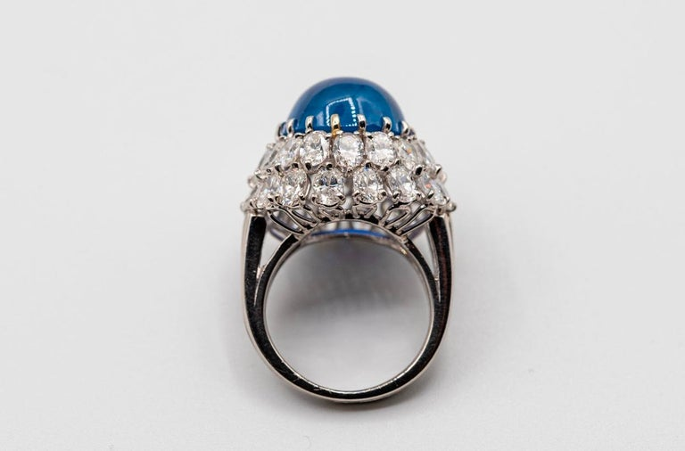 Oscar Heyman Cabochon Sapphire and Diamond Cocktail Ring 1